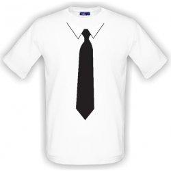 1967a5c1542 T-shock tričko s potiskem Černá kravata s límečkem pánské bílé od ...