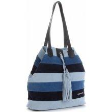 32613e3f0c Vittoria Gotti kožená kabelka Shopper Made in Italy Multicolor Modrá