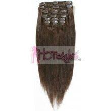 HOTstyle Clip in vlasy k prodloužení 50cm 100% lidské - REMY - tmavě hnědá