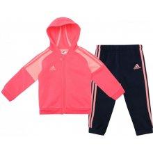 Adidas 3 pruhy na zip Jogging souprava Baby Pink Navy