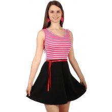 22abfe5b40956 YooY pruhované šaty v retro stylu 61054 tmavě růžová