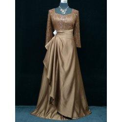 Plesové šaty Dlouhé plesové šaty s rukávem hnědá e4eb9aeefa