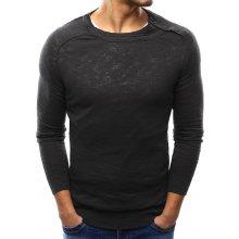 Pánský grafitový svetr s knoflíky na ramenou (wx1002)