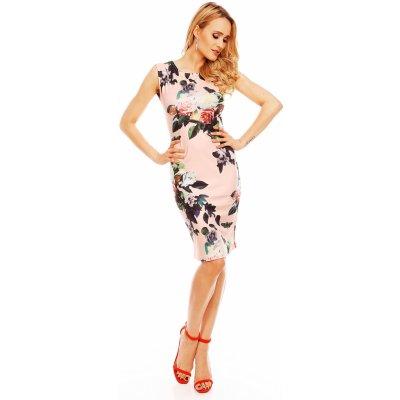 Společenské a párty šaty vypasované bez rukávu květované světle růžové - Růžová / M/L - House Style pudrovo-růžová M/L