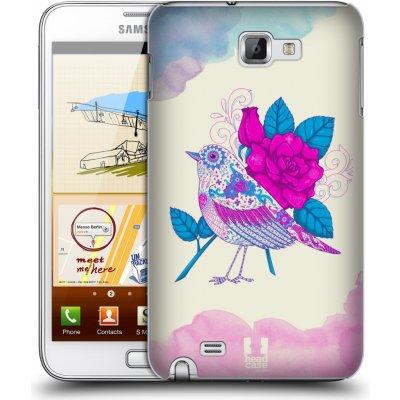 Pouzdro HEAD CASE SAMSUNG Galaxy Note N7000 (i9220) vzor Květina ptáčci FIALOVÁ