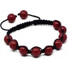 Náramek Shamballa s korálově červené perly Swarovski Elements BMB10.06