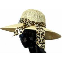 Made in Italy Dámský slaměný klobouk s leopardí mašlí 24fdc5f507