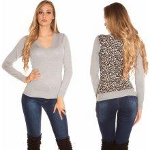 Koucla Dámský svetr s leopardími zády šedý 1898a9df3b