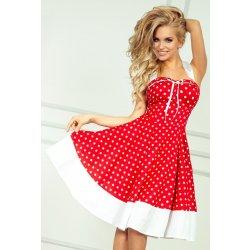 41c8dbccffe Dámské šaty Numoco šaty s bílými puntíky a kolovou sukní 30-8 červená