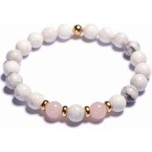 Lavaliere dámský korálkový náramek bílý howlite růženín stopery 04501