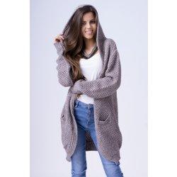 f090b5745e27 Fashionweek Pletený svetr kabát pro chladné dny s kapuci SFLORA Mocca