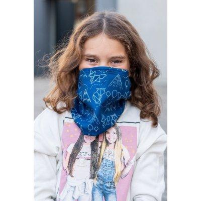 Dětský antivirový šátek nanoSPACE lišky modrá