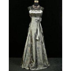 Stříbrné dlouhé společenské svatební plesové šaty s výšivkou pro svatební  matky 5b968c6d61