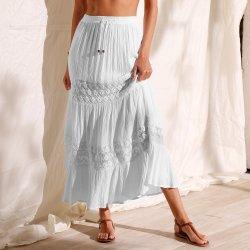719cd27c5 Blancheporte dlouhá kreponová sukně s macramé bílá