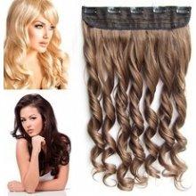 Clip in pás vlasů - lokny 55 cm -odstín 10 - světle hnědá
