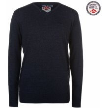 Lee Cooper V Neck Knitted Jumper Mens Navy Marl
