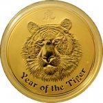 Lunární Zlatá investiční mince Year of the Tiger Rok Tygra 1 Oz 2010