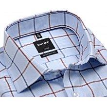 Olymp Modern Fit Twill – luxusní světle modrá košile s červeno-modrým kárem c3b255ddfe