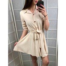 11a575816 Italská móda dámské šaty košilové 3/4 dlouhý rukáv hrubé IMT181017