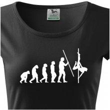 Dámské tričko s vtipným potiskem evoluce Pole dance Černá 7ffdf8704b