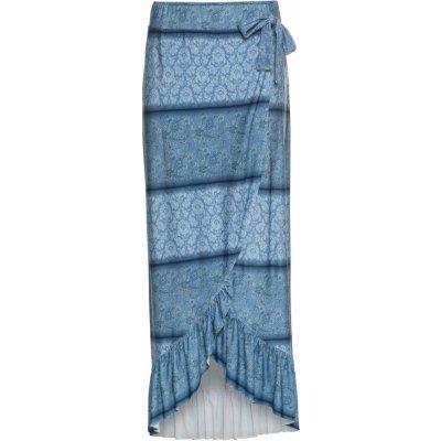 Bonprix Bodyfirt zavinovací maxi sukně modrá