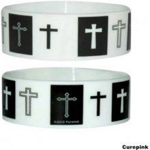 Náramek silikonový Kříže Crosses černo-bílý šířka WR67022 CurePink