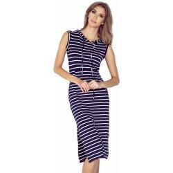1eb9f04b497 Recenze Pruhované šaty s kapucí a klokankou MM 012-1 modro bílá ...