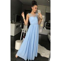 Eva   Lola dámské společenské a plesové šaty dlouhé pošité perličkami světle  modrá d19d663c68