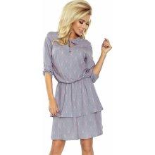 e4d3d88c8353 Dámské šaty Tina s 3 4 rukávem a dvojitou sukní vzorované šedá