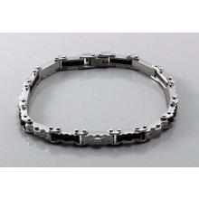 Náramek Decus ocelový s černými články 3020450