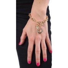 Guess náramek Gold-tone Cut-out Heart Charm zlatý B113946-C1DS