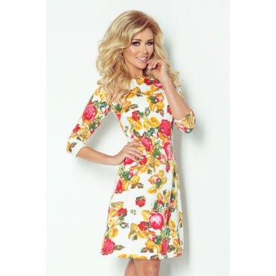 Dámské šaty Blossom s květovaným motivem krátké SAF-88-2 smetanová