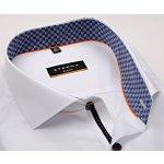 0e880f75a2c Eterna Slim Fit Stretch Non Iron – bílá košile s šachovnicovým vnitřním  límcem a manžetou
