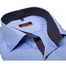 Eterna Slim Fit Fine Oxford Světle modrá košile s tmavě modrým vnitřním  límcem manžetou a légou fc57502dae