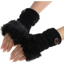 dámské rukavice s umělým kožíškem černá