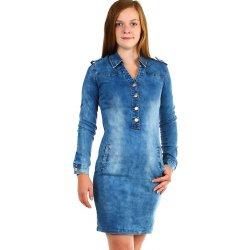 447151f80ce8 TopMode dámské krátké džínové šaty s dlouhým rukávem modrá ...