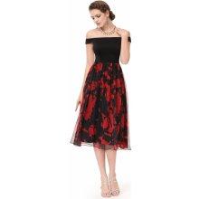 3a4f8140528 Společenské šaty pod kolena se spadlými rameny černá červená