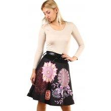 Glara dámská áčková sukně s ornamenty černá 1a99b3ac05