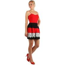 TopMode šaty se skládanou sukní a vrstvou krajky červená 65587834b9d