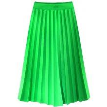 cce2e1f41b63 Plisovaná dámská sukně v délce midi v neonově zelené barvě 2 213ART