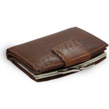 Arwel Dámská kožená rámová peněženka 511 4357 se zápinkou tmavě hnědá