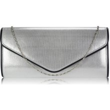 Large Flap clutch purse Silver