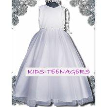1714ead6e25e dievčenské slávnostné dlhé šaty LEONTYNA v bielej farbe s ružovými  mašličkami