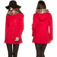 KouCla kabát křivák s kapucí červený