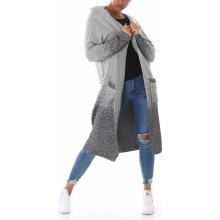 92557d77f7b VOYELLES Dámský dlouhý svetr kardigan s kapucí a kapsami šedá