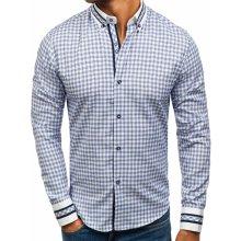 Modrá pánská kostkovaná košile s dlouhým rukávem Bolf 8808 994df3dfd1
