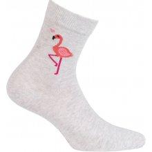 5b38da3e5c WOLA Dívčí ponožky s obrázkem PLAMEŇÁK šedé