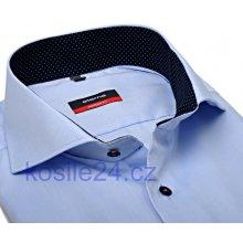 Eterna Modern Fit Fine Oxford Světle modrá košile s tmavě modrým vnitřním  límcem a manžetou prodloužený 99d3b818a9
