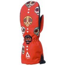 30d7b444413 Matt Dětské lyžařské rukavice s lebkami 3219 - červené