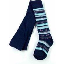 punčochy tmavě modré s modrorůžovými pruhy a kvítky
